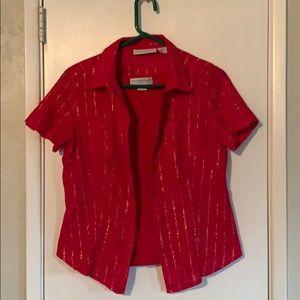 Sag Harbor petite sz Med. Red/gold  blouse w/tank